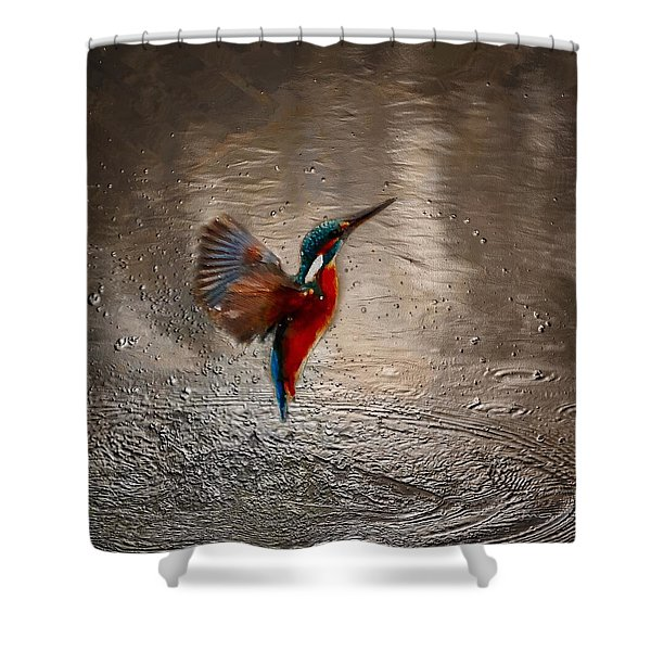 Shower Curtain featuring the painting Kingfisher by Mark Taylor