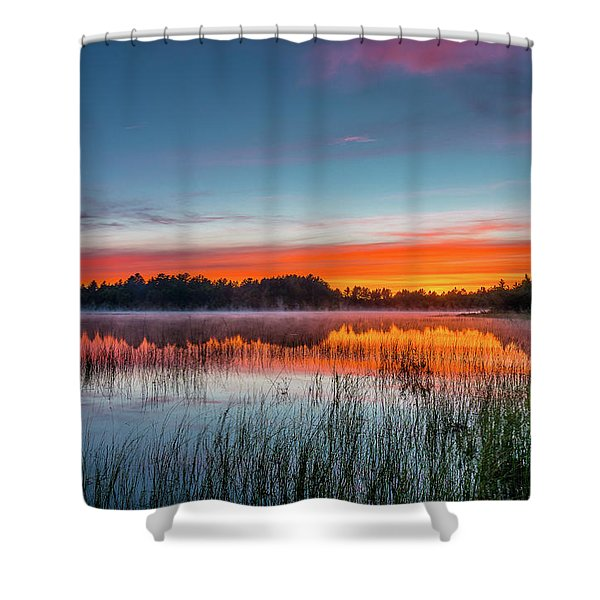 Kingston Lake Sunset Shower Curtain