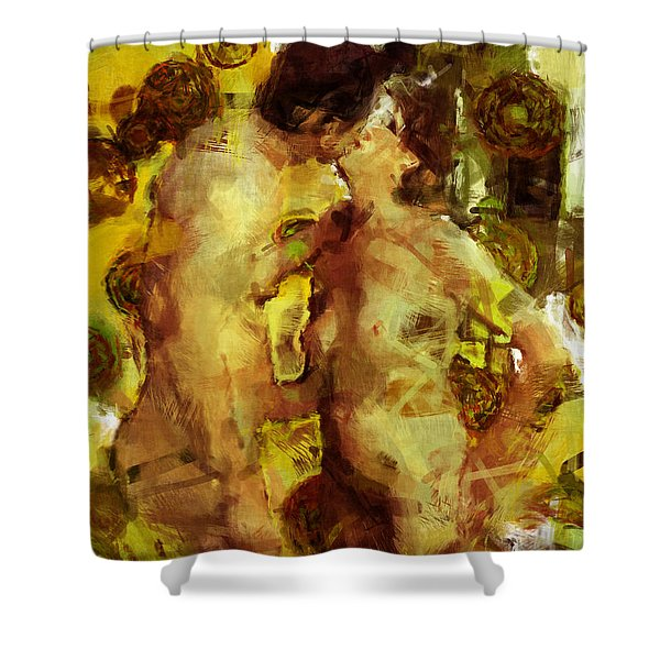 Kiss Me Shower Curtain by Kurt Van Wagner