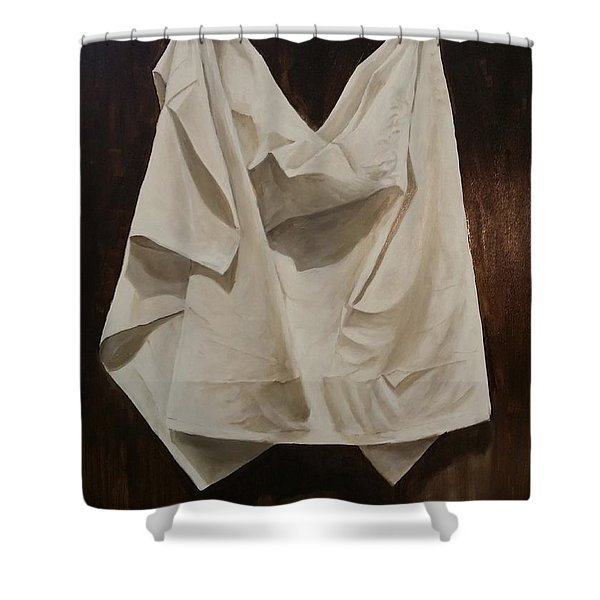 Shower Curtain featuring the painting Painting Alla Rembrandt - Minimalist Still Life Study by Rosario Piazza