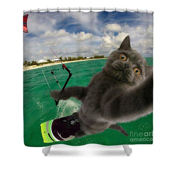 Kite Surfing Cat Selfie Shower Curtain