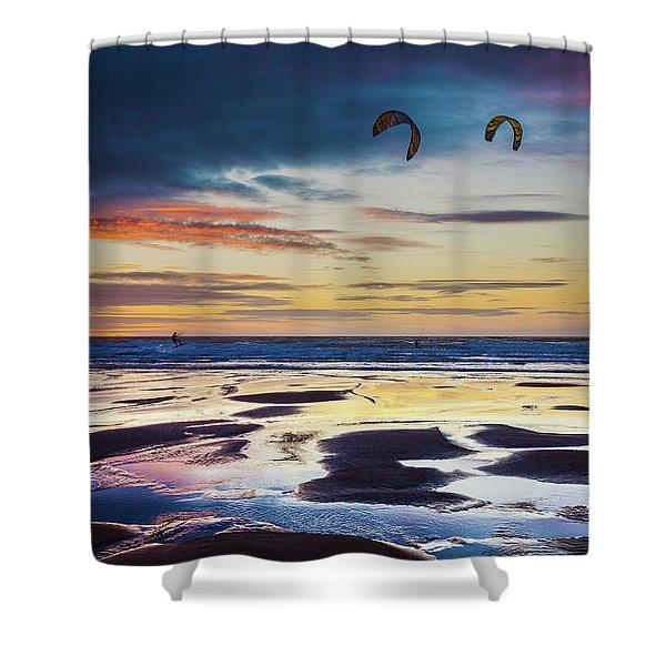 Kite Surfing, Widemouth Bay, Cornwall Shower Curtain