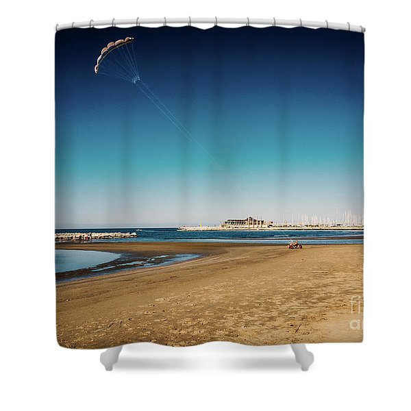 Kitesurf On The Beach Shower Curtain