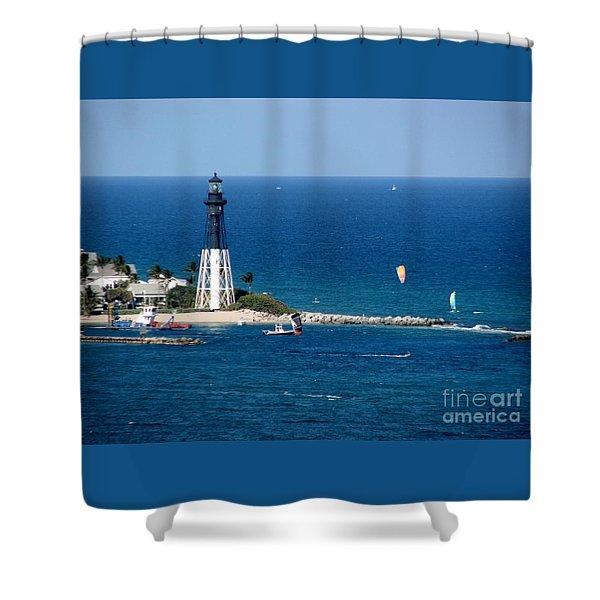 Kitesurfing At Pompano Beach By Hillsboro Lighthouse In Florida Shower Curtain