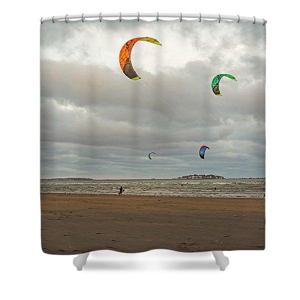 Kitesurfing On Revere Beach Shower Curtain