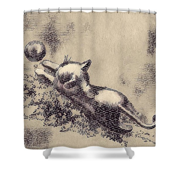 Kitten Playing With Ball Shower Curtain