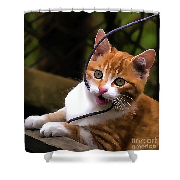 Kitten Portrait Player Shower Curtain