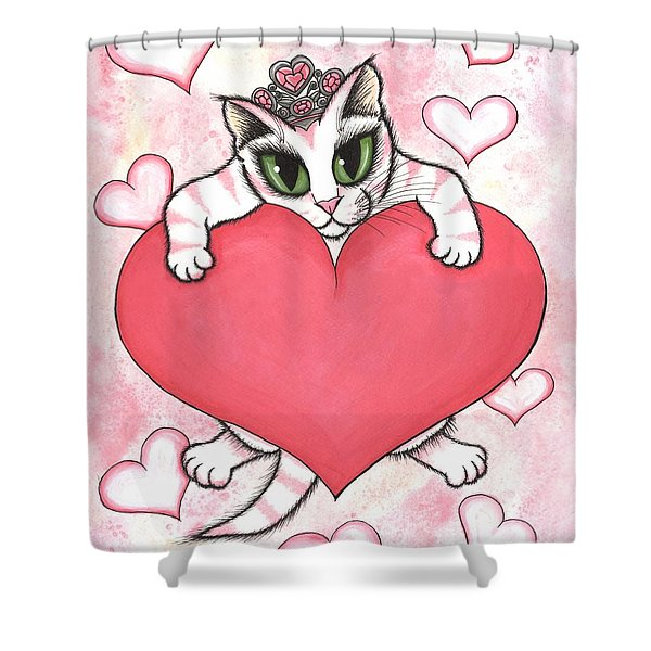 Kitten With Heart Shower Curtain