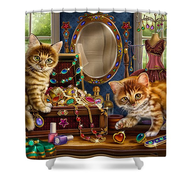 Kittens With Jewelry Box Shower Curtain