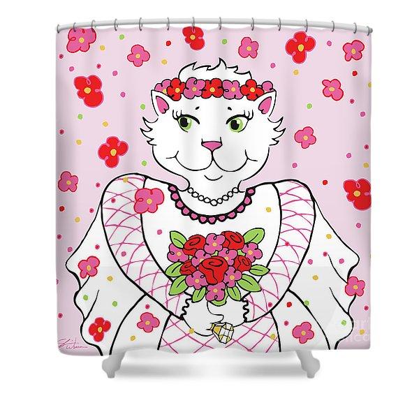 Kitty Bride Shower Curtain