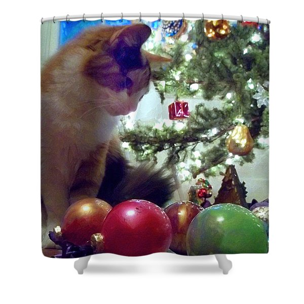 Kitty Helps Decorate The Tree Christmas Card Shower Curtain