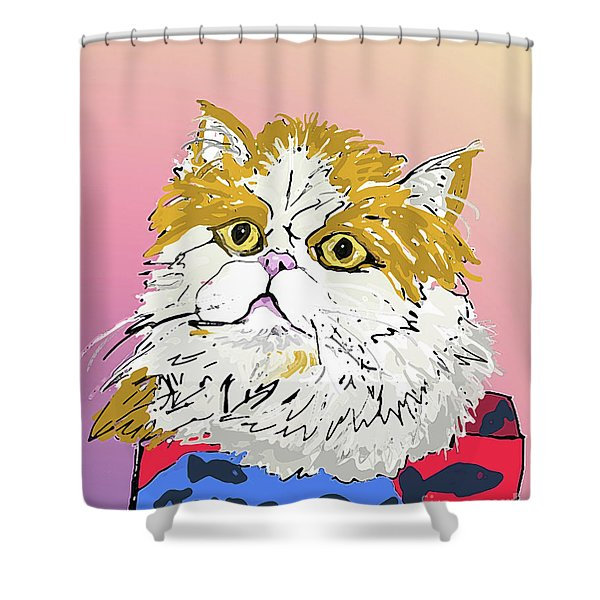 Kitty In Tuna Can Shower Curtain