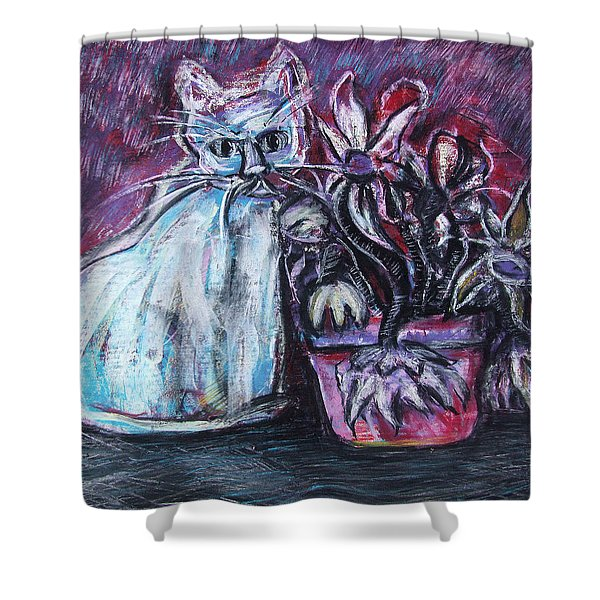 Kitty With Flowers Shower Curtain