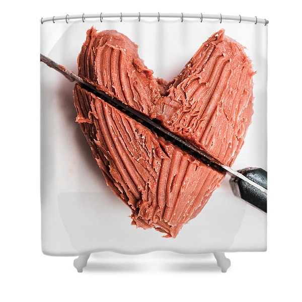 Knife Cutting Heart Shape Chocolate On Plate Shower Curtain