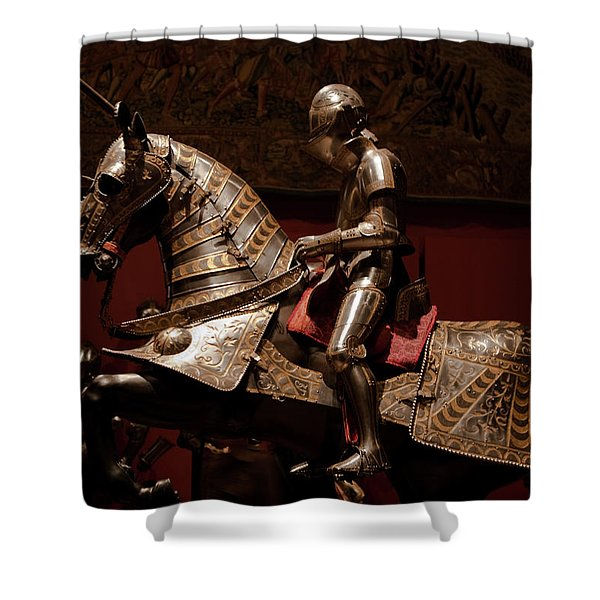 Knight And Horse In Armor Shower Curtain