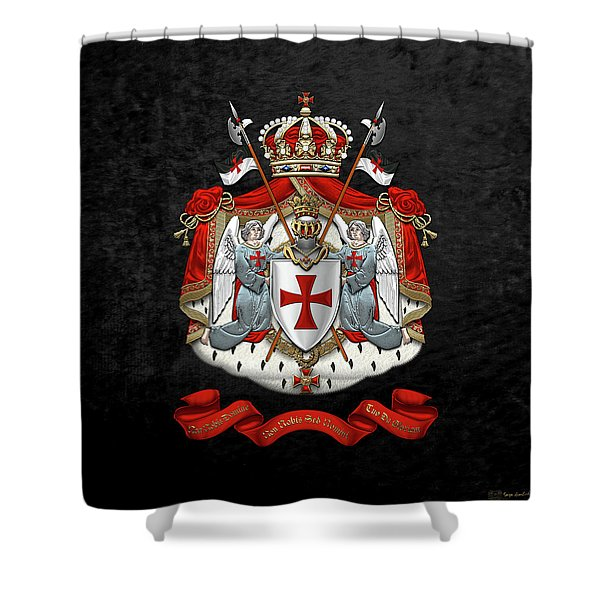 Knights Templar - Coat Of Arms Over Black Velvet Shower Curtain