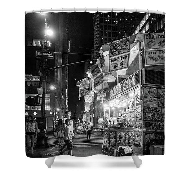 Knish, New York City  -17831-17832-bw Shower Curtain