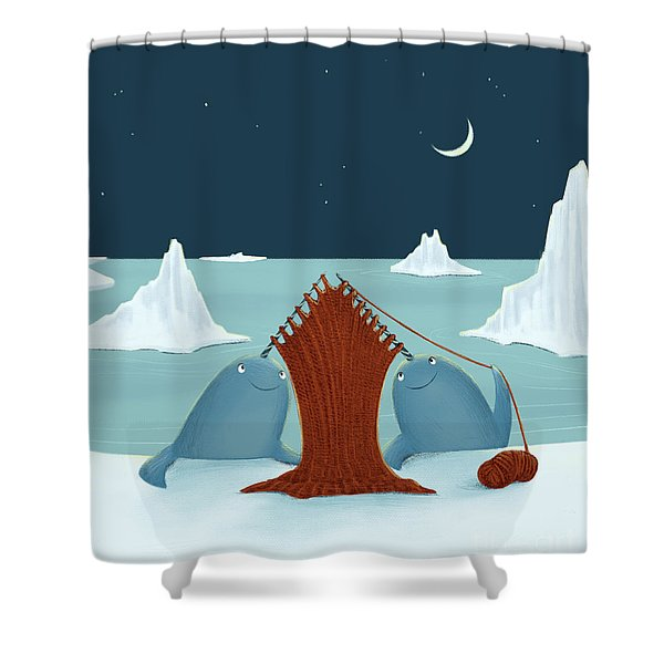 Knitting Narwhals Shower Curtain