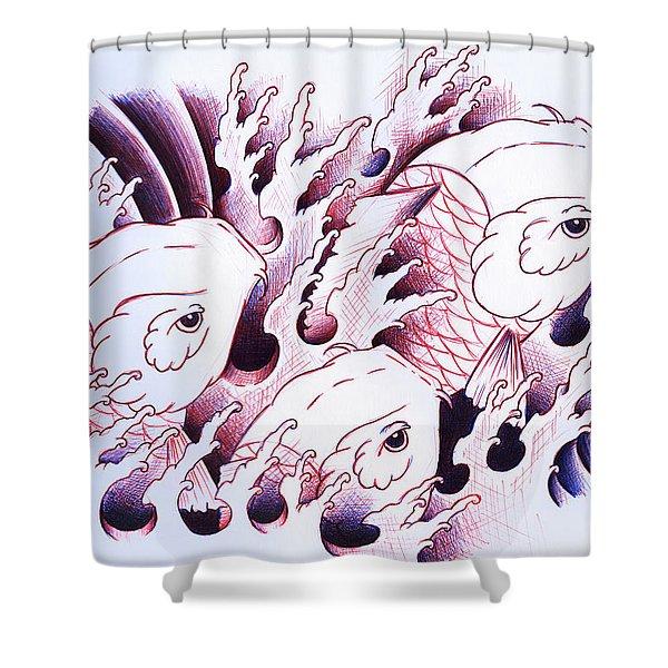 Koi Carps In Water Tattoo Art Shower Curtain