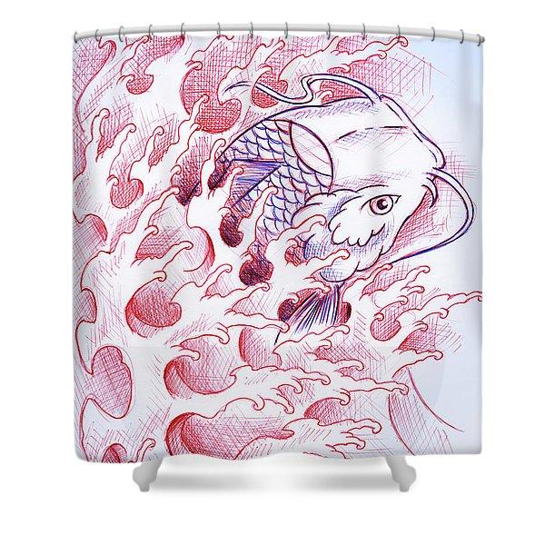 Koi Tattoo Sketch Shower Curtain