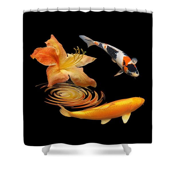Koi With Azalea Ripples Shower Curtain