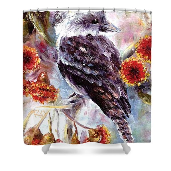 Kookaburra In Red Flowering Gum Shower Curtain