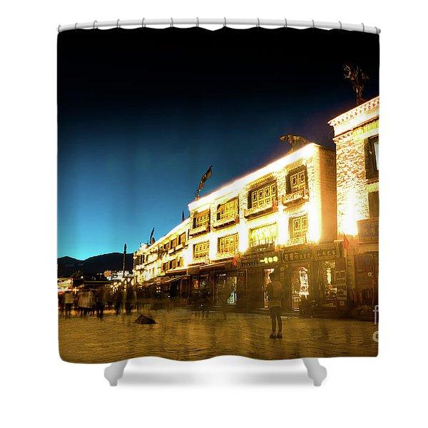 Kora At Night At Jokhang Temple Lhasa Tibet Yantra.lv Shower Curtain