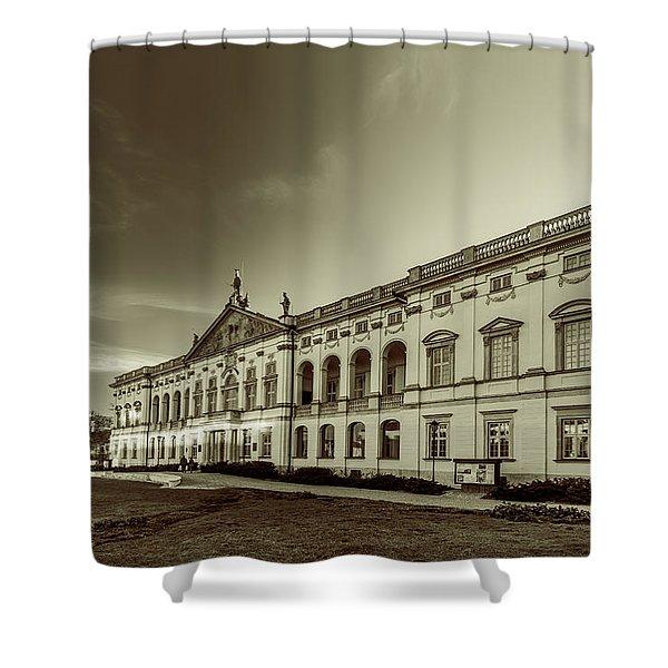 Krasinski Family Palace In Warsaw In Monochrome Shower Curtain