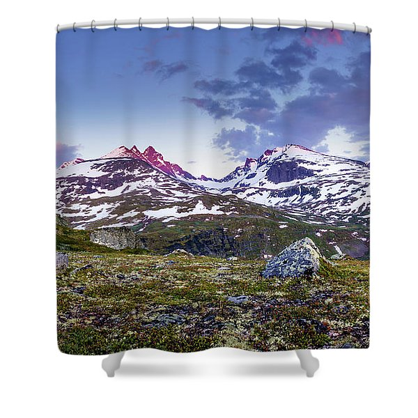 Crimson Peaks Shower Curtain