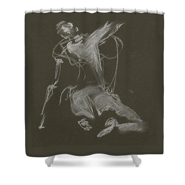 Kroki-2015-04-11-figure-drawing-white-chalk-marica-ohlsson-marica-ohlsson Shower Curtain