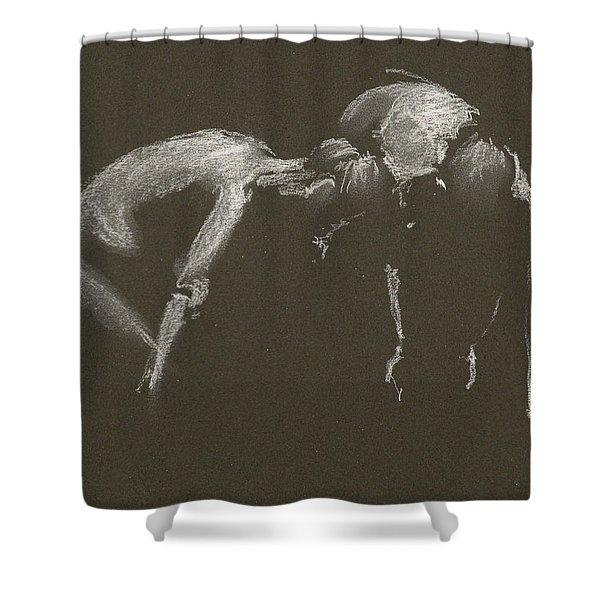 Kroki 2015 04 25 _1 Figure Drawing White Chalk Shower Curtain