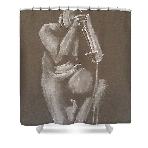 Kroki 2015 06 18_4 Figure Drawing Chinese Sword White Chalk Shower Curtain