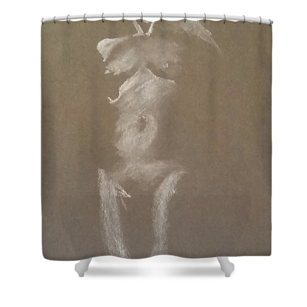 Kroki 2015 06 18_6 Figure Drawing White Chalk Shower Curtain