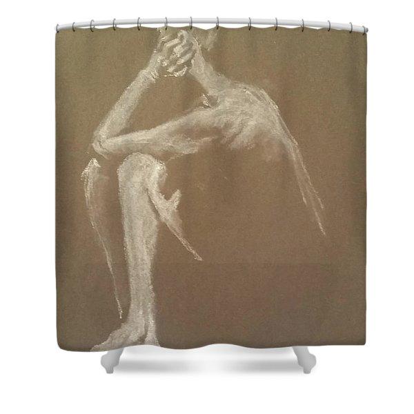 Kroki 2015 06 18_9 Figure Drawing White Chalk Shower Curtain