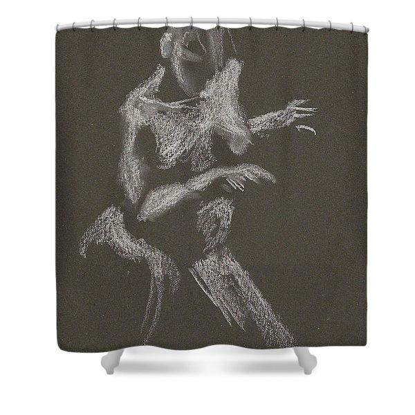 Kroki 2015 10 03_12 Figure Drawing White Chalk Shower Curtain