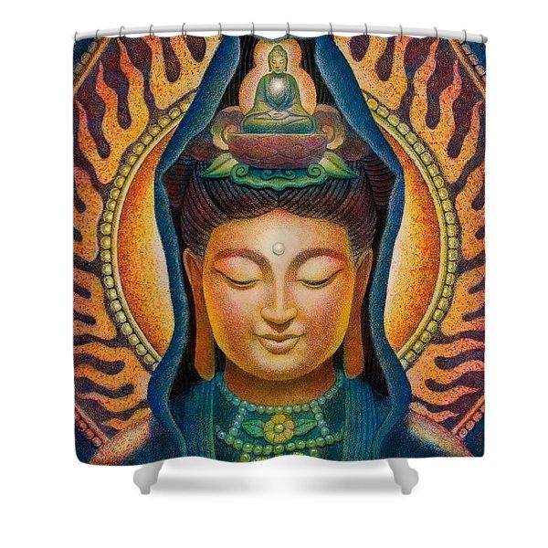 Kuan Yin Flame Shower Curtain