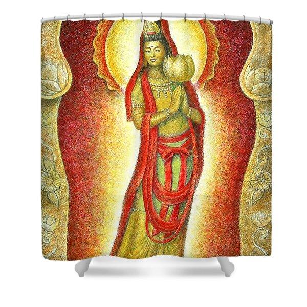 Kuan Yin Lotus Shower Curtain