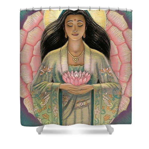 Kuan Yin Pink Lotus Heart Shower Curtain