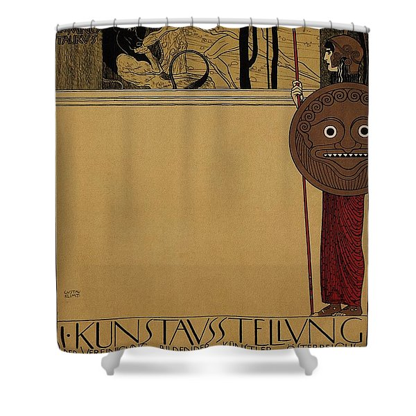 kunstavsstellvng - Vienna Secession Exhibition - Retro travel Poster - Vintage Poster Shower Curtain