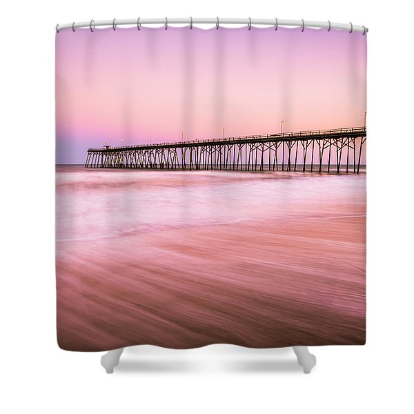 Shower Curtain featuring the photograph Kure Beach Fishing Pier At Sunset by Ranjay Mitra