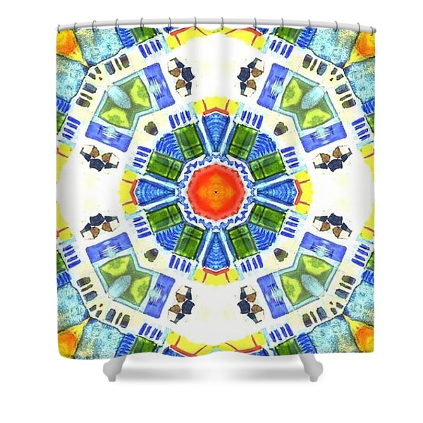 Shower Curtain featuring the mixed media KV3 by Writermore Arts