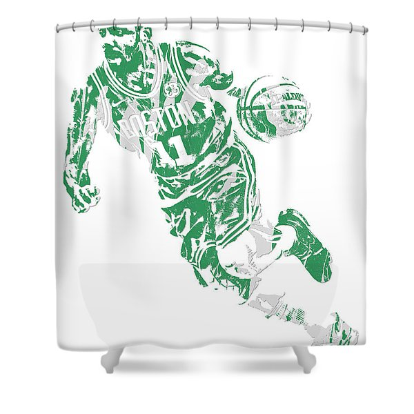 Kyrie Irving Boston Celtics Pixel Art 9 Shower Curtain
