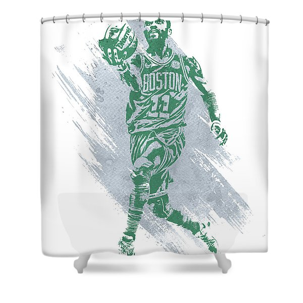 Kyrie Irving Boston Celtics Water Color Art Shower Curtain