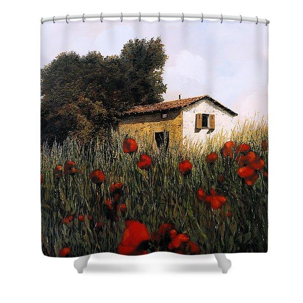La Casetta In Mezzo Ai Papaveri Shower Curtain