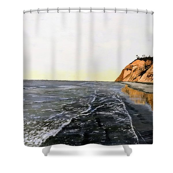 Shower Curtain featuring the painting La Jolla Shoreline by Kevin Daly