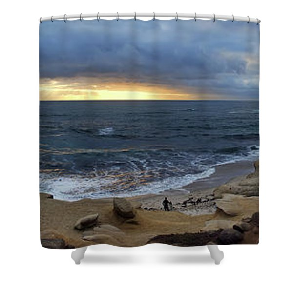 La Jolla Shores Beach Panorama Shower Curtain