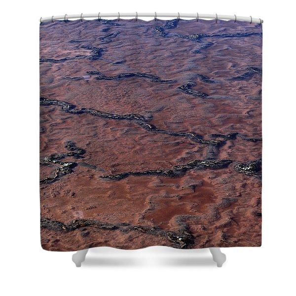 La Palma, Canary Island, Red Algae, Dunaliella Salina In The Crystallisation Of The Salt Mines In Fu Shower Curtain