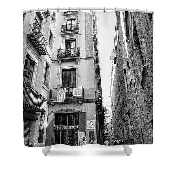 La Rambia Barcelona Restaurant Street Shower Curtain