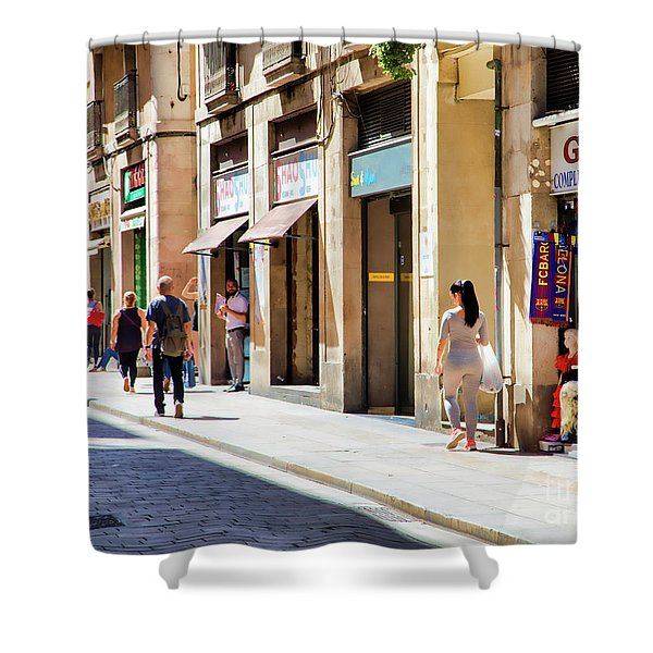 La Rambia Gothic Quarter People Streets  Barcelona Spain Life  Shower Curtain