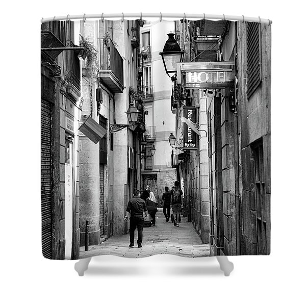 La Rambia Bw Street Gothic Quarter Narrow People  Shower Curtain